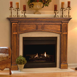 Pearl Mantels - Pearl Mantels Vance Wood Fireplace Mantel Surround - 160-56 - Shop for Mantels and Trim from Hayneedle.com! The Pearl Mantels Vance Wood Fireplace Mantel Surround features a transitional design that lends itself to any decor from traditional to modern. Plinth columns with recessed carvings a graceful arched front and a clean-lined pediment will create a flattering display around any fireplace. Choose the 48- or 56-inch internal-width option to fit your fireplace. This fireplace surround is crafted from solid wood which offers proven durability and quality. Available in a Medium Oak finish or leave it unfinished. Choose the unfinished option to customize the appearance of your fireplace with your choice of finishing varnish or paint. Mantel Surround Dimensions 48-in. 56 -in. A. Shelf length 70.5 in. 78.5 in. B. Interior width 48 in. 56 in. C. Interior height 42 in. 42 in. D. Width to outside leg at base 64.5 in. 72.5 in. E. Overall height 61.5 in. 61.5 in. F. Shelf depth 8 in. 8 in. G. Leg Depth 4.75 in. 4.75 in. About the Pearl InlayPearl Mantels now include a discrete authentic pearl-style inlay on each of their pieces. Your Pearl Mantel may or may not include this feature depending on purchase date. Please contact our Customer Care Center with any questions. About Pearl Mantels Inc. Pearl Mantels Inc. believes in business based on honest value quality products and personal service - even contacting clients directly to evaluate their needs and develop leading-edge solutions. Pearl also believes mantels are the emotional core of rooms representing heritage and tradition and displaying precious heirlooms. Each Pearl mantel boasts exclusive detail and classic design all at an affordable price. Plus a variety of finish options ensures Pearl Mantels Inc. indeed has a mantel for every hearth. Wood and MDF are combustible. Please review heat clearance specifications before installation. Consult your local building codes and manufacturer information regarding your specific insert or stove.