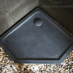"Living'ROC - 36-38-42"" Neo Angle Gray Granite Shower Pan - NICE - NICE is a French style pentagonal angle Genuine Natural stone Shower Base available in 36'x36'x2' and 42'x42'x2' - Enjoy this little piece of French Riviera in your bathroom with our creation  made in genuine interior decoration trendy gray granite. The 'Exceptional' cut in the block without any comparison with plastic and other chemical resin market often unaffordable.  You will definitely not let anyone feel indifferent with this 100% natural stone piece of heaven  unique in the US and exclusively available on Living'ROC.net. NO TILES ---> NO LEAKS --> ONE STONE BLOCK --> FASTER TO INSTALL ( click here to see our installations Portfolio) This piece of stone cut from a block of Granite is preformed to create an effective water slope to the drain giving it a groovy modern look. This unique creation from LivingRoc add style beauty and sophistication to your bathroom and its honed finish gives a satin-feel smooth and velvety to the touch. Made from Genuine Granite NICE  is extremely resistant to shocks scratches and daily use. The shower base is built to last a very long time. W e are also taking good care of your comfort and security ensuring reliable non slip products. If you wish to standardize your project you can choose among a wide range of vessel sink in trendy gray granite carved from the same material as for example models Dune Torrence Alpha Bali... Our creation NICE is delivered without a drain (not included) and without a granite cover which is only compatible with the European Market especially in France - every US drains models you can find on the market will fit perfectly on Living'ROC shower bases.The photos you see online have been taken with extreme care because without them we would not be one of the natural stone business key player of the online European continent. Once you have encountered the product in your home you will always have pure happiness for the love of the materials. It will be beyond your expectations because what you see online at livingroc.net is what you will receive.This is why we always guarantee a degree of quality (Grade A) and impeccable finish as can attest with the reviews filed by our customers.  ROUTINE CAREOur stones are already waterproofed before the settings as a protection. For daily care use a washing product with a neutral P.H. We also advise to waterproof the stone twice a year. Therefore we highly recommend our range of Stone care products  including detailed instructions  from Akemi (one of the world leader) to purchase  here to look after your natural stone vessel sink and offer you trouble free maintenance."