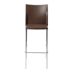 Eurostyle - Yeva-B Bar Chair (Set Of 2)-Brn/Chrm - Polypropylene seat and back