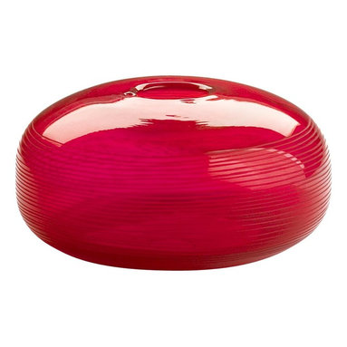 Cyan Design - Cyan Design Large Contempo Container X-50540 - From the Contempo Collection, this Cyan Design large container is a great way to add color and flair to any room in your home. The bulbous shape is complimented by subtle stripe detailing and a vivid glossy Red color throughout. It features a wide body and small mouth opening, giving it a contemporary feel.