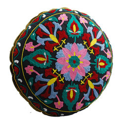 Black Flower Round Floor Pillow