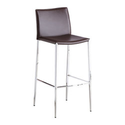 J&M Furniture - Fixed Brown C065-3 Barstool (Set of 2) - Complement the modern style of your home bar, kitchen island, or pub table with this stylish C065-3 Fixed Brown Barstool by M Furniture. The mix of chrome and leather is essential for the contemporary design to be in evidence.    This price is for 2 Stools.