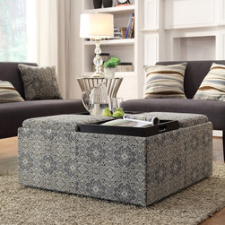 Inspire Q - INSPIRE Q Montrose Blue Damask Storage Cocktail Ottoman - This Avenue Collection ottoman feature lids that come off to reveal spacious storage compartments and,for cocktail hour,the lids invert to form a four-section coffee table. This cocktail ottoman is the perfect accent piece to brighten any room.