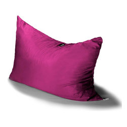 Jaxx Bean Bags - Jaxx Pillow Saxx 3.5' Kids Bean Bag, Fuchsia - Pillow Saxx Jr. is the little sibling to our six foot adult-sized Pillow Saxx. This floor pillow is perfect for active kid who needs a platform for playing games, watching TV, or just hanging out. The Pillow Saxx Jr. molds around them to suit their activities. Lying flat, it works as a crash pad and on its side or up against the wall it provides the perfect platform for reading and relaxing. Plus the cover is removable and washable, so you never have to worry about crumbs or dirt.