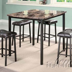 Acme Furniture - Crossville Counter Height 5 Piece Dining Set in Brown - 06050 - Set includes Dining Table and 4 Stools