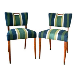 "Pre-owned Newly Upholstered Striped Mid-Century Chairs - Note from the seller: ""The warm wood and casual stripes urge me to road trip to Baja Cali so I can languor on the beach. The invitation of the touchable texture of slub yarns in the ever timeless twill weave, are so classic they will always be modern. The familiar color palette is freshly current with grayish white stripes that relate to today's obsession with cool toned colors. The consistency of wide stripes is a mark of quality upholstery, meanwhile, re-tied metal springs and all natural fillings echo this pair's overall feeling of rustic nature. Consider no more—to the beach we go!!""    The overall condition is excellent. Newly upholstered (metal springs, coconut fiber, cotton, hemp, cotton/polyester fabric, synthetic thread). Back leg in one chair is repaired. Maintain wood frame with regular polishings of furniture oil.     Seat height: 19""."