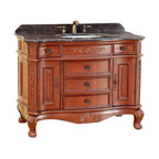 "Bosconi - 43"" T-3804 Classic Single Vanity - Antique Red - This Bosconi Classic vanity is the perfect model for complete organization. Not only does it feature two cabinets, but five additional drawers that can be used to neatly arrange and store even the smallest items. All storage areas feature Antique Brass hardware over an Antique Red finish in order to make this model a truly classic yet functional piece. The Dark Emperador marble with matching backsplash completes the Classic look of this perfect vanity."