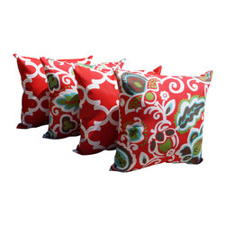 Land of Pillows - Fynn Rojo Red Moroccan Quatrefoil and Faxon Rojo Floral Outdoor Set of 4 Pillows - Fabric Designer - Premier Prints
