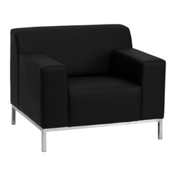 Flash Furniture - Flash Furniture Accent Chair X-GG-KB-RIAHC-9008-YTINIFED-BZ - This contemporary black leather reception chair features a back that slightly protrudes pasts the arms and stainless steel legs that elevate it off the ground. This chair will adapt in a variety of environments with its clean line appearance, thick fixed cushion seats and overall comfort level. [ZB-DEFINITY-8009-CHAIR-BK-GG]