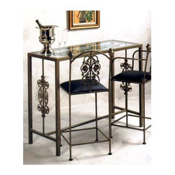 "Grace Collection - Glass Top Wrought Iron Garden Bar (Aged Iron) - Finish: Aged IronThis smaller home bar is perfect up against a wall or in the middle of your room.  The wrought iron design with clear glass top fits well in any setting, whether modern or older style.  Choose from a variety of metal finishes to perfectly match the décor in your home bar area.  A great combination!  This 36"" Tall Rosegarden heavy wrought iron bar - glass included - is shown with our 24"" Rosegarden counter stools, one without arms and one with arms ($27 more). * Heavy Wrought Iron Construction. Decorative iron work. Solid, half-inch thick glass bar top. Upholstered in faux leather. 49 in. W x 19 in. D x 36 in. H"