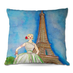 DiaNoche Designs - Pillow Linen - Diana Evans Jadore Vintage Paris III - Soft and silky to the touch, add a little texture and style to your decor with our Woven Linen throw pillows.. 100% smooth poly with cushy supportive pillow insert, zipped inside. Dye Sublimation printing adheres the ink to the material for long life and durability. Double Sided Print, Machine Washable, Product may vary slightly from image.