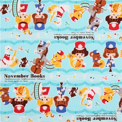 blue marching band oxford animal fabric by Kokka from Japan - Japanese animal fabric with stripes with animals and children with music instruments