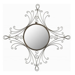 Safavieh - Giorgio Mirror - Reminiscent of the metal work of the Art Nouveau and Victorian eras, the Giorgio Mirror with its gracefully curved frame adds an old world glamour to any room.