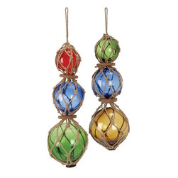 Benzara - Glass Jute Float - Set of 2 - If you are looking for low cost but rare to find elsewhere decor item to refresh the decor appeal of spaces in rooms, garden and porches etc, beautifully carved 71584 GLASS JUTE FLOAT 2 ASST a set of two hanging decor may be the best choice.