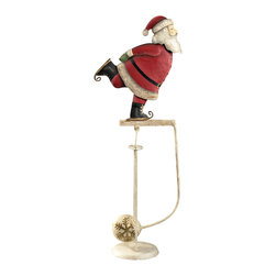 "Inviting Home - Skating Santa Balance Toy - skating Santa balance toy; 10-1/4"" x 4-1/4""x 20-3/4""H; Skating Santa balance toy. Functioning skyhook replica of 18 and 19th C. classic seasonal accessories. - hand made from recycled metal sheet; - cut by hand using original templates; - hand painted in great details; - finished in aged patina waxed; - counterweight calibrated to create swing; - come with matching metal stand; Gadgets inspired by science were popular in Victorian times. People loved demonstrations of the seemingly impossible. Optical illusions magnetic forces the laws of gravity all seemed magical in an era when society was changing fast and industrial revolution was unstoppable. Skyhooks could be set on a shelf or the rim of the table and set in motion to everybody's delight and amazement."