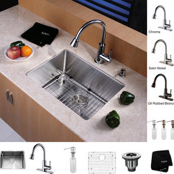 Kraus - Kraus Kitchen Combo Set Stainless Steel 23-inch Undermount Sink with Faucet - Give your kitchen a more efficient and elegant fixture with this single side stainless steel undermount kitchen sink. It comes with a bottom grid and dish drainer as accessories. The material is resistant to scratches. Ceramic faucet seals are included.