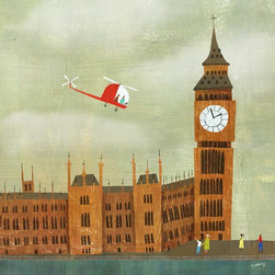 "Big Ben Print - London's most famous landmark, grey skies and all! This is a print of a mixed media illustration by Melanie Mikecz. The print area is 8"" x 8"". It is printed on 8.5"" x 11"" acid free, satin paper using pigment based inks. Signed on the front. It will be shipped in a cello sleeve with a backing board in a rigid mailer."