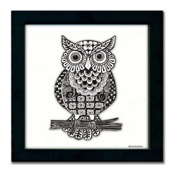 Owl Pen & Ink - This wonderful Owl design is a print of a pen and ink drawing by Pamela Corwin. The tiny intricate patterns in each of Pam's pen & inks create beautifully detailed graphic designs. Framed in a classic black frame and available in two sizes, this handsome owl will fit in any room. They look great in sets of two or three.