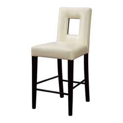 Global Furniture USA - Beige Upholstered Bar Stool with Cut-out Design - Global Furniture - This gorgeous Cream Upholstered Bar Stool by combines practicality and elegance. It provides comfortable seating for you and your guests and will greatly enhance every party. This bar stool features appealing contemporary design and sleek stylish lines.
