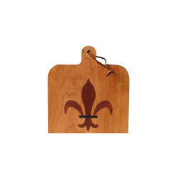 Kentucky Cutting Boards - Cherry Cheeseboard with New Orleans Fleur de Lis - Give the Crescent City some love and honor the connection NOLA has with France each time you serve your cheese spread. The stylized French iris design is beautifully embedded in the cherry wood board and makes all cheese presentations flamboyant, festive and 'The Big Easy'.