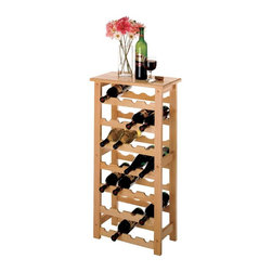 Winsome Wood - 28 Bottle Wine Rack - The smooth beech wood table top on this sturdy solid wood construction wine rack offers storage for up to twenty eight bottles of your favorite wines. Contemporary style and sleek finish offer a beautiful accent in any room, and is a gorgeous match to our other solid beech wood construction wine racks. * Stores up to 28 bottles. Smooth Beechwood table top. Natural finish. 37H x 18.5W x 10.2D in.