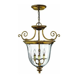 Hinkley - Hinkley Cambridge 3-Light Burnished Brass Foyer Hall Pendant - 3613BB - This 3-Light Foyer Hall Pendant is part of the Cambridge collection and has a Burnished Brass finish. It is dry rated.