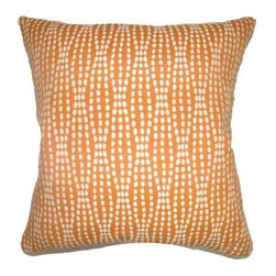 The Pillow Collection Udell Dot Pillow - Tangerine - There's nothing spotty about the stylish looks of The Pillow Collection Udell Dot Pillow - Tangerine. Made of 70% cotton and 30% polyester, this modern square pillow features a plush 95/5 feather/down insert for ultra softness. The cheery geometric print and gorgeous contrasting white and tangerine design add a vibrant touch to any room.About The Pillow CollectionIdentical twin brothers Adam and Kyle started The Pillow Collection with a simple objective. They wanted to create an extensive selection of beautiful and affordable throw pillows. Their father is a renowned interior designer and they developed a deep appreciation of style from him. They hand select all fabrics to find the perfect cottons, linens, damasks, and silks in a variety of colors, patterns, and designs. Standard features include hidden full-length zippers and luxurious high polyester fiber or down blended inserts. At The Pillow Collection, they know that a throw pillow makes a room.