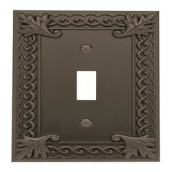 Atlas Homewares - Atlas Homewares Vst-O Venetian Single Toggle Switch Plate, Aged Bronze - Atlas Homewares Vst-O Venetian Single Toggle Switch Plate, Aged Bronze