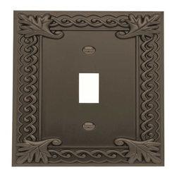 Atlas Homewares - Atlas Homewares Vst-O Venetian Single Toggle Switch Plate, Aged Bronze - Atlas Homewares Vst-O Venetian Single Toggle Switch Plate, Aged Bronze