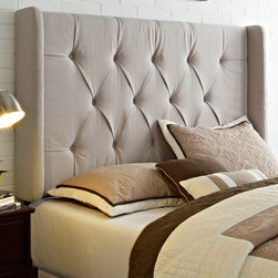 Wingback Tufted Ivory King/California King Size Upholstered Headboard -