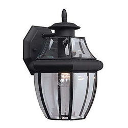Sea Gull Lighting - Curved Beveled Black One-Light Outdoor Wall Mount - This black outdoor lantern features clear curved beveled glass bound in solid brass.  The height from the center of the outlet box is 4 1/2?.  The back plate measures 4 11/16W by 5 9/16H. Sea Gull Lighting - 8038-12