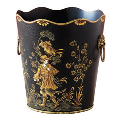 Pauper Tole Wastebasket - On this lovely black tole basket, I see a humble man at home in the woods. We think it will provide a fine home for your trash. Tole-painted accent pieces like these fit anywhere – a well-appointed home office, a luxurious bath. You'll have your own ideas, of course. We understand. Tole was made popular in the 18th century and is the folk art of decorative painting on every day household objects. Our Pauper Wastebasket is a lovely example of Tole Chinoiserie. The Pauper Wastebasket's alter-ego is depicted on our Prince Tole Wastebasket. Both trash cans are true works of art, handpainted on iron.