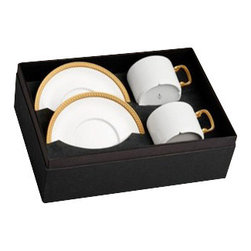 L'Objet - L'Objet Soie Tressee Gold Tea Cup and Saucer Gift Box - The braid made modern, Soie Tressee offers a distinct, contemporary take on an ancient shape. Limoges porcelain available in White, hand-gilded 24K Gold, or Platinum. Limoges Porcelain. 24K GoldL'Objet is best known for using ancient design techniques to create timeless, yet decidedly modern serveware, dishes, home decor and gifts.