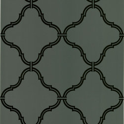 Beacon House - Estate Brown Moroccan Grate Wallpaper - Such a stately and soothing presence, this prepasted wallpaper combines an interlocking grate pattern set boldly against a blue-green backdrop. The striking black pattern brings a refined charm to your sitting room and is crafted to keep you company for many years to come.
