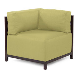 Howard Elliott - Sterling Willow Axis Corner Chair - Mahogany Frame - At the Height of Fashion! Lounge in style on Sterling Axis Corner Chairs. Float the Sterling Axis Corner Chair on its own or pair it up with additional Chair, Corner or Ottoman Pieces. This Chair features boxed cushions with Velcro attachments to keep the cushions from slipping and looking their best all of the time. Your Sterling Axis Corner Chair will definitely turn heads with its sophisticated linen-like texture and vibrant color selection. This Sterling Willow piece is 100% Polyester finished in a soft burlap texture in a willow green color. 32.5 in. W x 32.5 in. D x 30 in. H