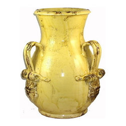 Artistica - Hand Made in Italy - Scavo Giallo: Large Vase with Three Handles - Scavo Giallo Collection:
