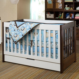 Babyletto - Babyletto Mercer 3-in-1 Convertible Crib Collection - Espresso/White Dark Brown - Shop for Cribs from Hayneedle.com! The perfect combination of modern form and practical function the Babyletto Mercer 3-in-1 Convertible Crib Collection - Espresso/White is just what you need for your child's nursery. The crib features a clean modern look with hidden hardware and a trundle drawer at the base for convenient storage. When your child outgrows a crib it converts to a toddler bed with a safety rail and a daybed. Sturdily constructed of sustainable New Zealand pinewood with non-toxic espresso finish this handsome crib set is durable and built to last through infancy the toddler years and beyond. Along with the crib you can also choose other pieces to create just the right nursery for your little one. The perfect match for the contemporary Mercer crib the Babyletto Changer features three spacious drawers to provide plenty of room for clothing diapers supplies and more. The changing tray is removable for cleaning or for when your child outgrows diapers so you can use the unit as a dresser. With its cut-out drawer pulls and no knobs the Babyletto Dresser exudes upscale elegance. All hardware is hidden furthering the sleek style. Five roomy drawers will hold clothing blankets and other items making your little one's room a neat organized place to play and grow. Both the changer and dresser are available in choice of espresso or espresso-and-white nontoxic finishes to coordinate with the crib. Dimensions: Crib: 54L x 30W x 35H inches Dresser: 33.5W x 19.125D x 51.25H inches Changer: 33.5L x 19W x 36H inches About BabylettoModern and stylish while remaining affordable and eco-friendly Babyletto is a brand with a vision. Established in 2010 Babyletto takes pride in offering quality products for families all designed to open the heart and spark imagination. Working from a platform based on fond childhood memories and special moments they strive to infuse every design wit