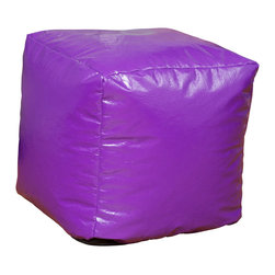 Best Selling Home Decor - Purple Parker Vinyl Bean Bag Cube Ottoman - Comfortable and durable, this bean bag ottoman has a vinyl cover and is filled with long-lasting polystyrene beans. They are perfect for a bedroom, home theater rooms, family and game rooms. Color: Various; Materials: Vinyl, polystyrene beans; Weight: 3 pounds; Diameter: 16 inches; Fill: Polystyrene beans; Cover: Cover is double-stitched along all seams and is not removable; also includes hidden stitching and seams; Puncture proof; Care Instructions: Spot Clean; Dimensions: 18 inches high x 18 inches wide x 18 inches deep; Made in the US; Kid friendly