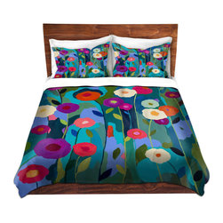 DiaNoche Designs - Duvet Cover Microfiber King from DiaNoche Designs by Carrie Schmitt - Good Morni - DiaNoche Designs works with artists from around the world to bring unique, artistic products to decorate all aspects of your home.  Super lightweight and extremely soft Premium Microfiber Duvet Cover (only) in sizes Twin, Queen, King.  Shams NOT included.  This duvet is designed to wash upon arrival for maximum softness.   Each duvet starts by looming the fabric and cutting to the size ordered.  The Image is printed and your Duvet Cover is meticulously sewn together with ties in each corner and a hidden zip closure.  All in the USA!!  Poly microfiber top and underside.  Dye Sublimation printing permanently adheres the ink to the material for long life and durability.  Machine Washable cold with light detergent and dry on low.  Product may vary slightly from image.  Shams not included.