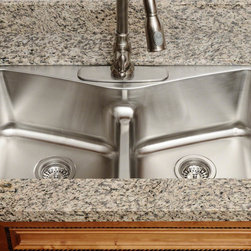 "MR Direct - MR Direct 533-18 Low Divide Angled Bowl Stainless Steel Kitchen Sink, Sink Only - The 533-18 low divide angled bowl undermount sink is constructed from 304 grade stainless steel and is available in 18 gauge thickness. The surface has a brushed satin finish to help mask small scratches that occur over time and keep your sink looking beautiful for years. The overall dimensions of the 533-18 are 32 1/2"" x 18 1/8"" x 9"" and a 33"" minimum cabinet size is required. This sink contains a 3 1/2"" offset drain, is fully insulated and comes with sound dampening pads. As always, our stainless steel sinks are covered under a limited lifetime warranty for as long as you own the sink."
