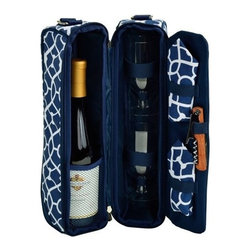 Picnic at Ascot - Wine Carrier for Two, Trellis Blue by Picnic at Ascot - Your next trip, hike or picnic will be a bit more special with our trellis blue Sunset Wine Carrier for Two by Picnic by Ascot. This zippered Thermal Shield insulated tote maintains the ideal wine temperature, includes two acrylic wine glasses or space for a second bottle of wine, napkins and a combination corkscrew. The strap is adjustable for carrying comfort.