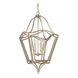 "Capital Lighting - Whitney Foyer Fixture - 6-Light - Whitney 6 or 8-Light Foyer Fixture.  Winter Gold finish.  Takes six or eight 60W Candelabra bulbs.  UL Listed.  Rated for Dry Environments.  Canopy: 5 1/4"" round.  Chain Length: 10'  Wire Length: 15'  6-Light Fixture: 20 1/4"" w x 20 1/4"" d x 38 1/2 "" h  8-Light Fixture: 26 3/4"" w x 26 3/4"" d x 50 "" h"