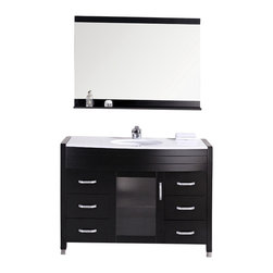 "Design Element - Design Element Waterfall 48"" Espresso Modern Single Drop-in Sink Vanity Set - The Waterfall 48"" Vanity Set with White Stone Countertop is elegantly constructed of solid hardwood. The composite white stone counter top and designer oval under-mount sink add a crisp and contemporary look to any bathroom. This stylish design includes a soft closing cabinet and six drawers adorned with satin nickel hardware. Included is an espresso framed mirror with shelf. The Waterfall Bathroom Vanity is designed as a center piece to awe-inspire the eye without sacrificing quality, functionality or durability."