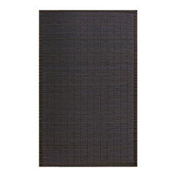 Anji Bamboo Villager Ebony 5'x8' - Our Villager Bamboo Rugs were inspired by the traditional bamboo floor covers in Asia.  Made from the finest and strongest sustainably-harvested bamboo, these rugs add a touch of practical  elegance to any room.  Kiln-dried bamboo is machine-planed and sanded for a smooth finish.  In addition, the patented, ventilated non-slip rug pad backing cushions the rug and keeps it in place.  Other available colors include: Natural, Coffee and Crimson.    Also available in: 2'x3', 4'x6', 7'x10', and a 7' round version.