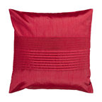 Surya Rugs - Venetian Red 22 x 22 Pleated Pillow - Simple yet stylish. This pillow is a mixture of a solid and striped design. The color red accents this decorative pillow. This pillow contains a poly fill and a zipper closure. Add this 22 x 22 pillow to your collection today.  - Includes one poly-fiber filled insert and one pillow cover.   - Pillow cover material: 100% Polyester Surya Rugs - HH025-2222P