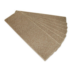 """Payless Rugs - Beige Rubber Backed Stair Treads ( Set Of 13 ) - 8.5"""" x 26"""" Rubber Backed Stair Treads not only protect your stairs and make them safer to walk on, but they add simplistic beauty to your staircase. Made of 100% Polypropylene with Rubber Backing for easy install and non-slip assistance. Easy to clean with a hand held vac. Good for pets and people a like! Sold in Sets Of 13."""