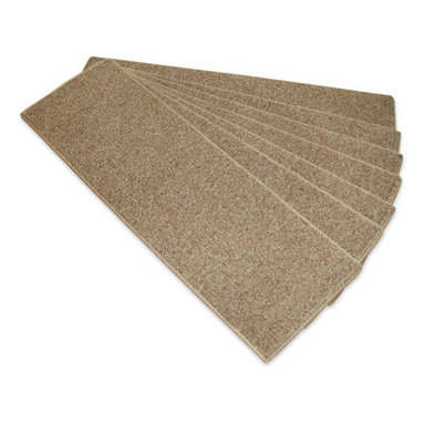 "Payless Rugs - Beige Rubber Backed Stair Treads ( Set Of 13 ) - 8.5"" x 26"" Rubber Backed Stair Treads not only protect your stairs and make them safer to walk on, but they add simplistic beauty to your staircase. Made of 100% Polypropylene with Rubber Backing for easy install and non-slip assistance. Easy to clean with a hand held vac. Good for pets and people a like! Sold in Sets Of 13."