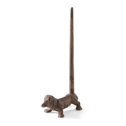 Grandin Road - Dog Paper Holder - Solid, cast-iron animals with long extensions to hold paper rolls. Distressed, chocolate-brown finish. Each holds two rolls of bathroom tissue or one roll of paper towels. Crafted for years of whimsical service. Keep paper towels or bath tissue handy with our whimsical Animal Paper Holders. Why not get two and place one in the kitchen and another in the bath? These handcrafted animals perform their duties with good cheer.  .  .  .  .