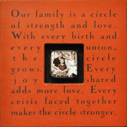 "Sugarboo Designs - Our Family is a Circle - Many More Colors - Perfect for a wedding or anniversary gift is the distressed wood Photo Box with a fantastic quote by Zelda Fitzgerald. Select from 18 colors and add a charming couple or family photo (4"" x 4"") for center stage. (SD) 20"" High x 20"" Wide x 2"" Deep"