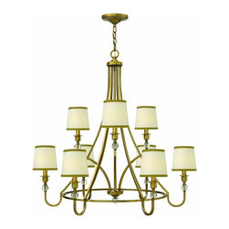 Hinkley - Hinkley Morgan Nine Light Brushed Bronze Up Chandelier - 35 in. x 33.5 in. - This nine light up chandelier is part of the Morgan collection and has a brushed bronze finish. It is dry rated.
